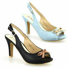 Synthetic Leather Upper Peep Toes Block Heels for Women