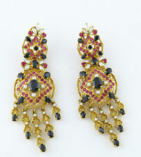 NYJEWEL 22k Solid Gold Brand New Indian Style Gemstones Pearl Bridal Earrings