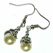 Pearl Butterfly Silver Plated Round Costume Earrings