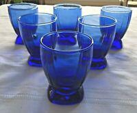 Anchor Hocking Berkeley Cobalt Blue Tumblers glasses SET 6 Stunning Vintage