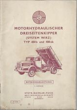 STEYR PUCH  Motorhydraulischer DREISEITENKIPPER 480  Betriebsanleitung 1962 BA