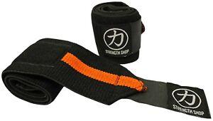 "Strength Shop Zeus Wrist Wraps - Orange/Black - 30cm 60cm 12"" 24"" - IPF APPROVED"