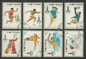 1980 Vietnam Stamps Summer Olympics, Moscow Sc # 1052-1059 Never Hinged