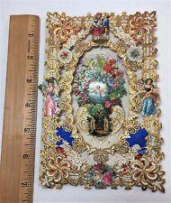 SUPER Fancy Lace Die Cut Victorian Valentine - 1870 3D Americana Folk Art pull