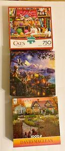 3 Jigsaw Puzzles, Disney Kinkade Pinocchio , Ceaco 1000 Pcs & Buffalo 750 Pcs