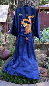 Vintage LIJU 100% Silk Kimono Blue Robe w/ Embroidered Dragon Japan LARGE
