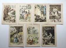 """Seven Late 19th/Early 20th c Children's Book Illustrations 5 1/2"""" H x 3 7/8"""" W"""