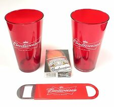 Budweiser Plastic Pint Cups Bottle Opener & Playing Cards Poker Set - New