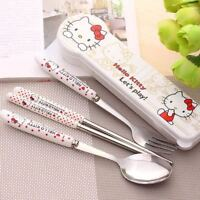 3pcs/set Hello Kitty Spoon / Fork / Chopsticks Stainless Steel Travel Tableware