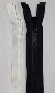 YKK NO.3, Vislon (Plastic) Zip, 100cm Open Ended. Black or White