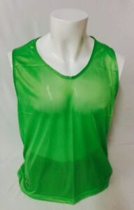SET OF NEW 12 NEW NEON GREEN SCRIMMAGE VESTS SOCCER  FOOTBALL YOUTH & ADULT SIZE