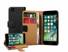 Wallet Black Leather Flip Case Cover For Apple iPhone 7 + 2 protectors