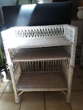 Vintage Antique White Wicker Rattan Standing Bookshelf Unique