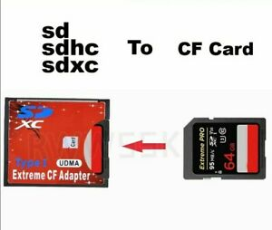 Extreme CF Adapter SD SDHC SDXC card to CF Compact Flash Type I SD to 256GB