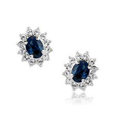 ITALINA18K WHITE GOLD PLATED GENUINE SAPPHIRE BLUE CUBIC ZIRCONIA STUD EARRINGS