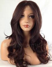 TWO TONE DARK RED HEAT RESISTANT LONG WOMANS LADIES WAVY LACE FRONT WIG KW34