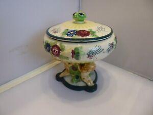 Japenese Maruhon Ware 'Majolica Style' 'Cherub' Pedestal Bowl With Lid