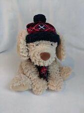 GT Gentle Treasures Tan Puppy Dog w/ Burgundy/Navy Blue Hat & Scarf Plush