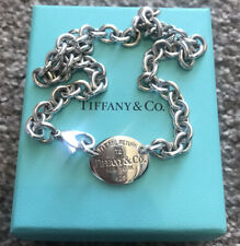 Tiffany & Co Silver Oval Tag Charm Necklace