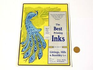 Pictorial Peacock Gittings,Hills & Boothby Printing Inks Advertisement GO-WITH.