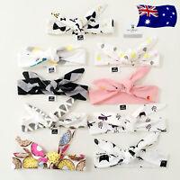 Girl Baby Kids Soft Cotton retro Bow Ear Party Hair band Headband bandana tie up