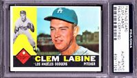 AUTOGRAPHED 1960 TOPPS #29 CLEM LABINE PSA/DNA AUTHENTIC AUTO, SIGNED DODGERS NM