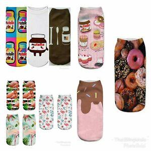 3X Pairs Novelty Socks Nutella Ice Cream Flamingo Doughnut Secret Santa Xmas