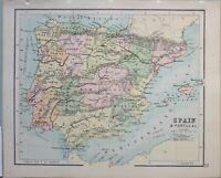 1898 Landkarte Spanien & Portugal Neu Kastilien Algarve Andalusien Murcia Madrid