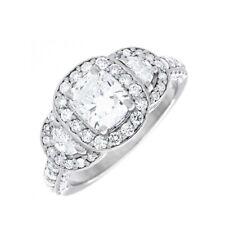 Diamond Engagement Ring Cushion Cut GIA Certified 2.40 Carat 18k White Gold