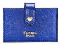 Victoria's Secret VS Jewel Metallic Accordion Card Case Wallet Sapphire Blue NEW