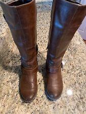Limelight Brown Knee High Boots - Size 8 - Studs Zipper Buckles
