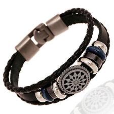CH women/Men Leather Cute Cool Braided Cuff Wrap Bracelet Jewelry Punk Wristband