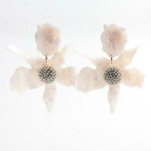 LeLe Sadoughi Crystal Lily Earrings Clip On Mother of Pearl