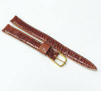 Genuine Lizard Leather Medium Brown Tone 11mm Gold Buckle Watch Band