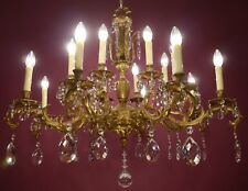 LARGE OLD CRYSTAL GOLD BRONZE FRENCH HUGE CHANDELIER CEILING LAMP 16 LIGHT