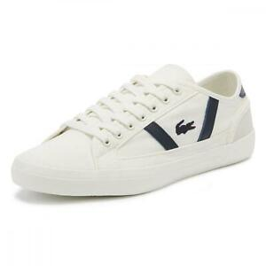 New Men's Lacoste Sideline 119 Canvas Shoes Size 12.5 Off White/Navy