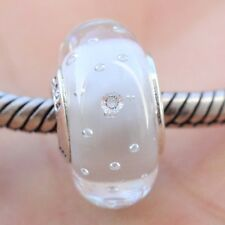 S925 Sterling Silver White Fizzle Murano Charm Glass Bead For European Bracelet