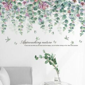 Removable Wall Stickers Nature Hanging Green Leaves Purple Flowers Butterflies