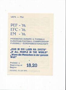 1976 UEFA EURO FINAL Czecoslovakia v West Germany (VERY RARE Official Programme)