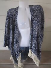 Hollister by Abercrombie Blue Fringe Light weight Kimono Top Blouse M