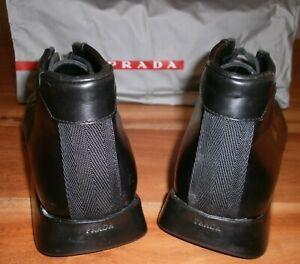 Prada Men's Black Leather Boots Size 8.5
