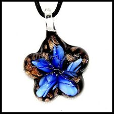 Fashion Women's Flowers lampwork Murano art glass beaded pendant necklace #M234
