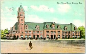 "DENISON, Texas Postcard ""New Union Depot"" Railroad Station w/ Train /1909 Cancel"