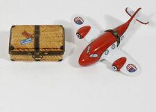 Lot 2 Limoges France Usa Airplane + Travel Suitcase Trinket Boxes Peint Main