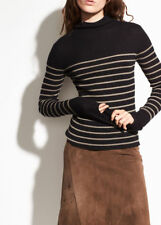 V200 NWT VINCE 100% CASHMERE STRIPE MOCK NECK WOMEN SWEATER SIZE XS $265