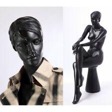 Female handmade mannequins, Full body Sitting Black manikin+ Pedestal