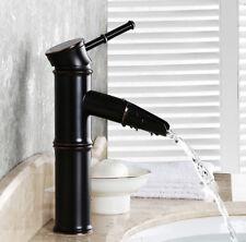 Design Wasserfall Wasserhahn Bad Waschbecken Armatur Mischbatterie Schwarz Retro