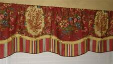 French Country Custom VALANCE Curtain Waverly Toile Stripe Vintage Red Gold Trim