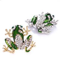 Verde rana broche cristal Rhinestone animal broche traje collar PIN joyería