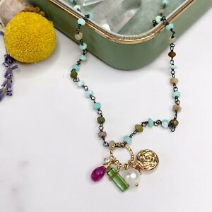 Multigem Charm 14K Gold Filled Opal Handmade Sundance Garden Necklace